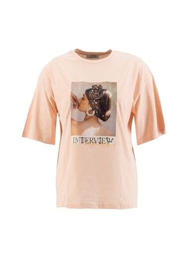 Setre Siyah Baskılı Kısa Kol T-Shirt Somon